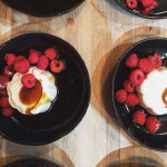 Rose and yoghurt panna cotta with coconut caramel and fresh berries