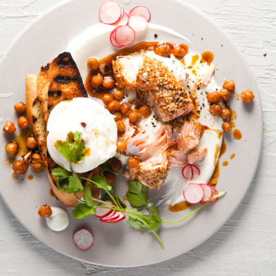 Turkish-style eggs and salmon