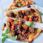 Beef meatball pizza