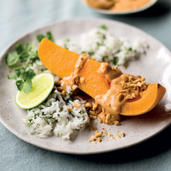 Butternut with Thai peanut sauce and coriander rice