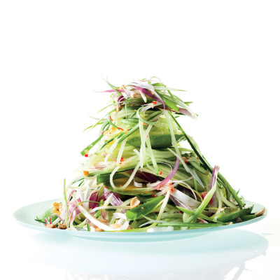 Cucumber salad with fat-free Asian dressing