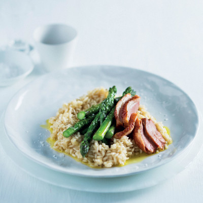 Duck-and-asparagus risotto