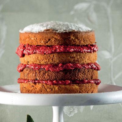 Gluten-free Victoria sponge with raspberry chia jam