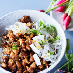 Coconut-and-ginger pork mince with sriracha and noodles