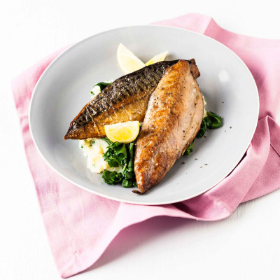 Pan-grilled mackerel fillets with spinach mash
