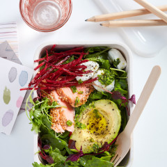 Flaked hot-smoked trout, avocado and salad