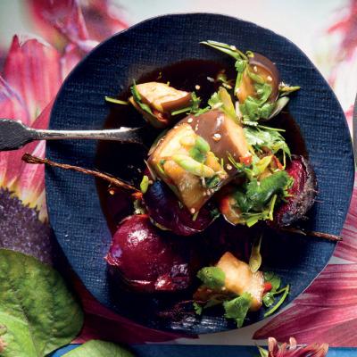 Korean brinjal-and-beetroot salad