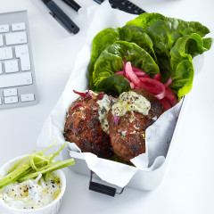 Lettuce lamb burger with tzatziki