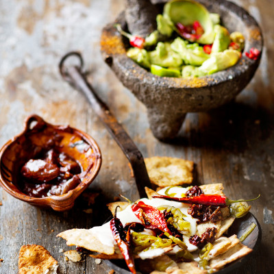 Mexican nachos with chunky guacamole