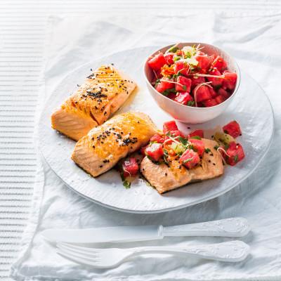 Seared salmon with watermelon salsa