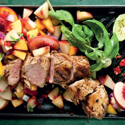 Spicy chargrilled pork and juicy nectarine salsa