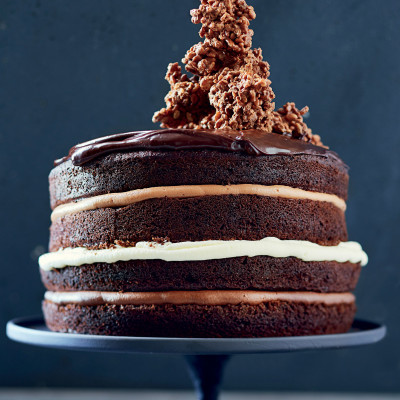 Choc-fudge layer cake with Rice Krispie clusters