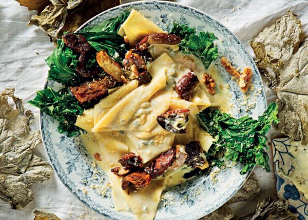 Creamy Gorgonzola fazzoletti pasta with porcini recipe