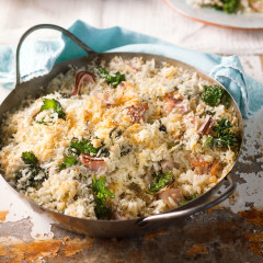 Baked ham-and-kale risotto