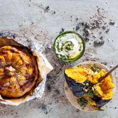 Braaied smashed pumpkin with salsa verde and yoghurt