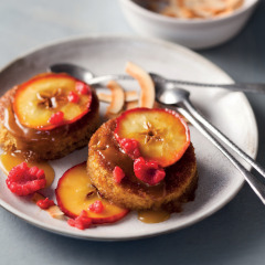 Malva pudding with brown sugar apples and coconut