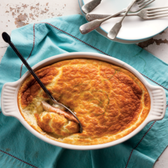White cheese soufflé with trout