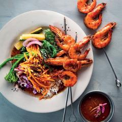 Easy to wok veggies with seared Asian prawn skewers