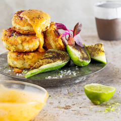 Fish cakes with seared cucumber and satay sauce