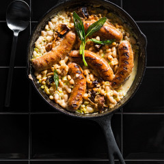 Italian sausage baked in creamy beans
