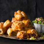 Moroccan sausage rolls with minty salsa