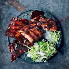 Chinese sticky hot ribs with cabbage-and-coconut slaw