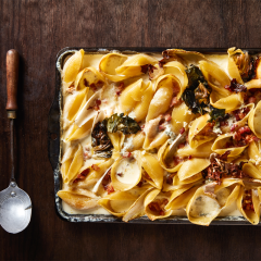 Baked conchiglie carbonara