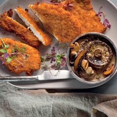 Chicken schnitzel with mushroom sauce