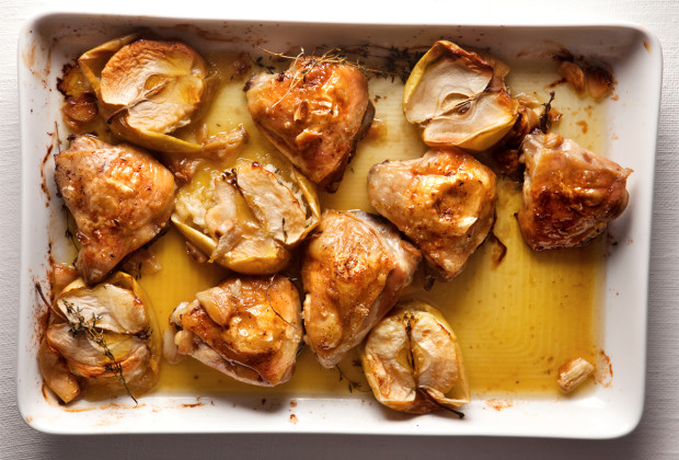 Chicken tray bake with roast apples and thyme