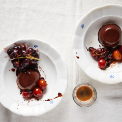 Chocolate panna cotta with verjuice-poached prunes