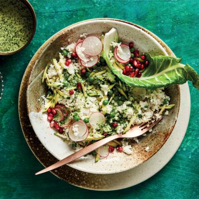 Coconut-dressed cauli-rice winter salad