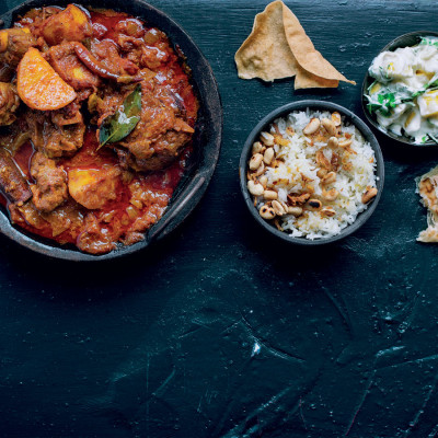 Indian lamb on the bone with pineapple-and-coriander raita