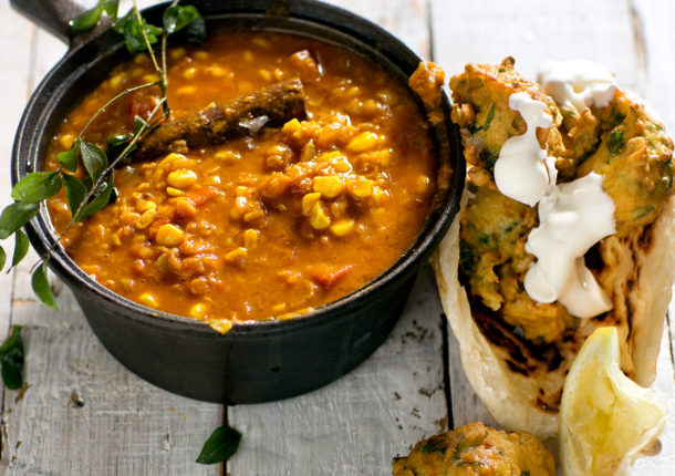 Indian corn dhal with chickpea fritters