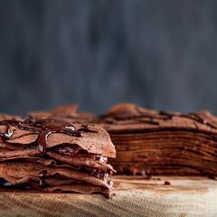 Chocolate crêpe cake with Nutella cream