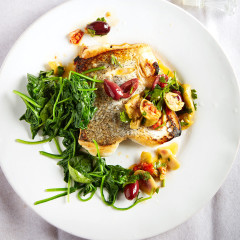 Pan-roasted hake with chilli and olives
