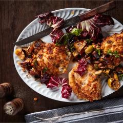 Parmesan-crumbed pork chops with caponata