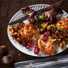Parmesan-crumbed pork chops with caponata