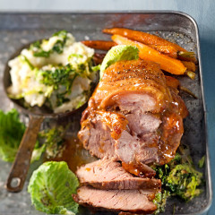 Easy to roast salted caramel pork with colcannon mash
