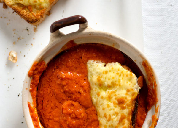 Tomato soup with toasted cheesy melt