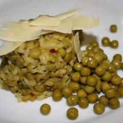 Pea risotto oven-baked