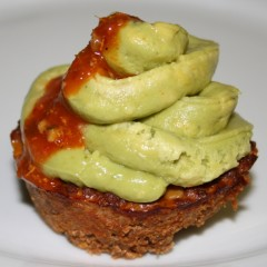 Tomato mince cupcake with avo puree frosting
