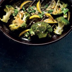 Broccoli with roast lemons and herb salsa