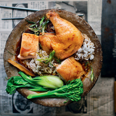 Chinese-poached chicken in aromatics
