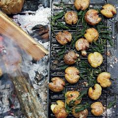 Duck-fat-fried baby potatoes with juniper salt