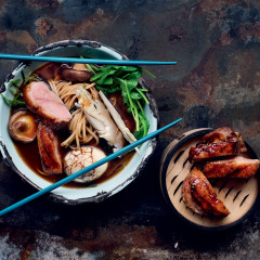 Duck ramen with tea-stained eggs
