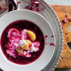 Iced borscht with hot potatoes and sour cream