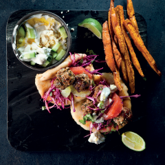 Lamb meatball gyros with cabbage slaw and yoghurt dip