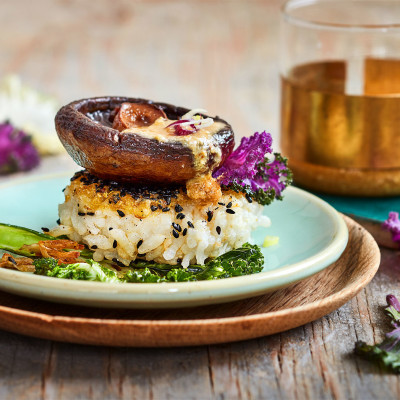 Parmesan-and-sesame rice with roast garlicky mushrooms
