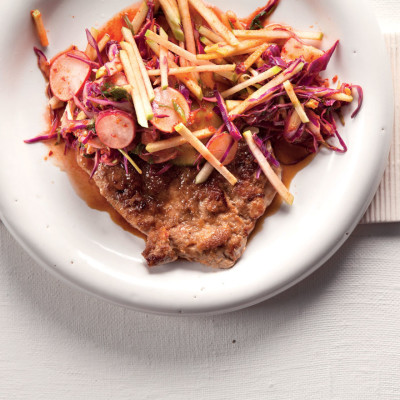 Pork escalope with apple kimchi