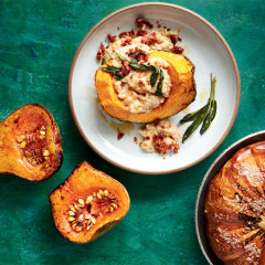 Risotto-stuffed squash with Parmesan and pancetta